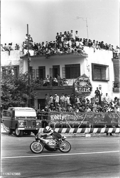 A steering motorcycle during the 20th Macau Grand Prix 18 November 1973