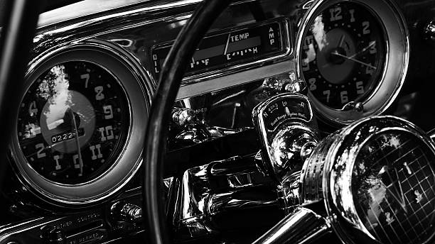Steering Wheel And Dashboard Of Antique Car