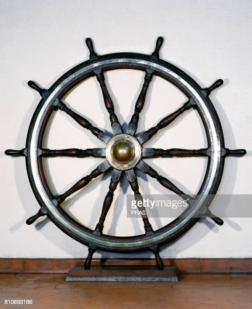 Steering wheel From a ship of Compa_ia Transmediterranea Maritime Museum of Barcelona Catalonia Spain