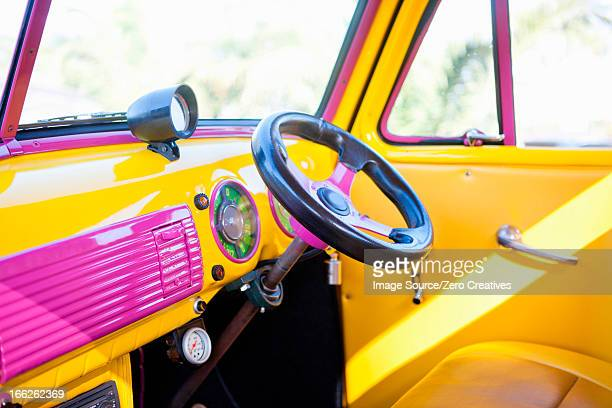 steering wheel of colorful car - cool cars stock pictures, royalty-free photos & images