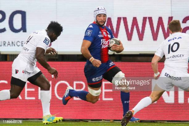 Steeve BLANC MAPPAZ of Grenoble and Dug CODJO of Oyonnax and Yohan LE BOURHIS of Oyonnax during the Pro D2 match between Grenoble and Oyonnax at...