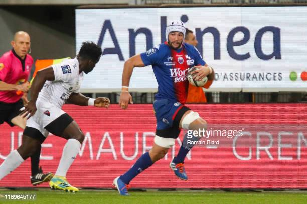 Steeve BLANC MAPPAZ of Grenoble and Dug CODJO of Oyonnax during the Pro D2 match between Grenoble and Oyonnax at Stade des Alpes on December 19, 2019...