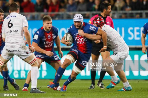 Steeve BLANC MAPPAZ of Grenoble and Tommy RAYNAUD of Oyonnax during the Pro D2 match between Grenoble and Oyonnax at Stade des Alpes on December 19,...