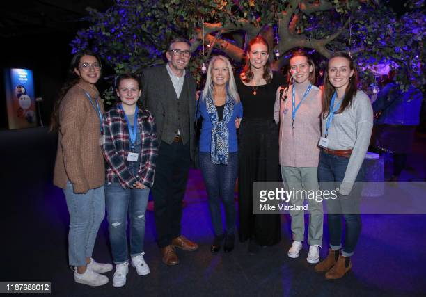 Steeve Coogan Clea Newman and Rosie Tapner with SeriousFun campers at the SeriousFun Children's Network Campfire Bash on November 14 2019 in London...