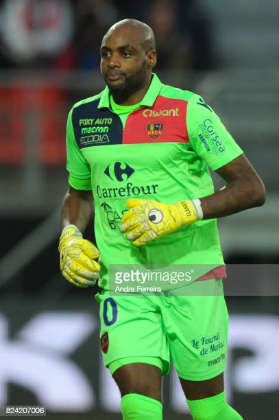 Steeve Elana of Gazelec Ajaccio during the French Ligue 2 match between Valenciennes and Gazelec Ajaccio on July 28 2017 in Valenciennes France