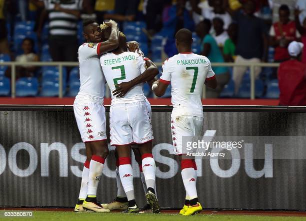 Steeve Yago and Prejuce Nakoulma of Burkina Faso celebrate after scoring a goal during the 2017 Africa Cup of Nations semifinal football match...
