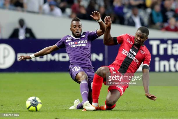 Steeve Yago of Toulouse and Marcus Thuram of Guingamp battle for the ball during the Ligue 1 match between Toulouse and EA Guingamp at Stadium...