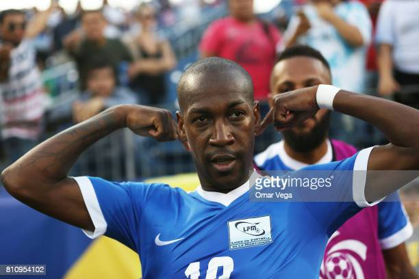 Steeven Lagil of Martinique celebrates after scoring the second goal of his team during the Group B match between Martinique and Nicaragua as part of...