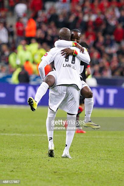 Steeven Langil and Ladislas Petre Meyair Douniama of EA Guingamp are celebrating their victory of the French Cup Final match between Stade Rennais FC...
