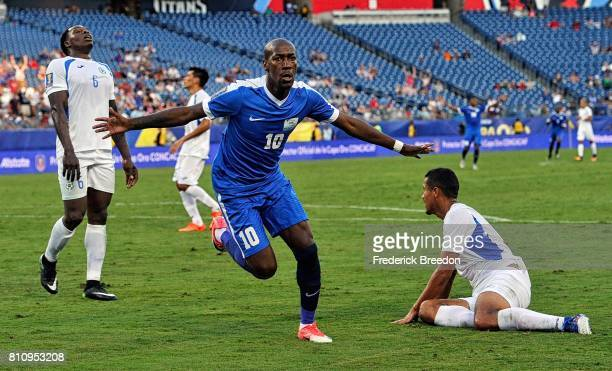 Steeven Langil of Martinique celebrates after scoring a goal against Nicaragua during the second half of a CONCACAF Gold Cup Soccer match at Nissan...