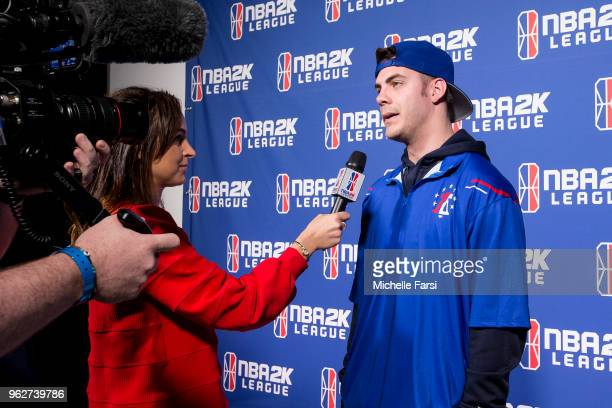 Steez of 76ers Gaming Club talks to the media following the game against Wizards District Gaming on May 26 2018 at the NBA 2K League Studio Powered...