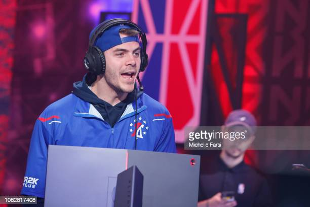 Steez of the 76ers GC gets hyped during the game against Grizz Gaming during the NBA 2K League Mid Season Tournament on June 8 2018 at the NBA 2K...