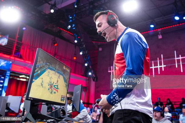 Steez of the 76ersa Gaming Club reacts during the game against Wizards District Gaming during Week 11 of the NBA 2K League regular season on July 11...