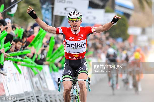 Stef Clement of Netherlands and BelkinPro Cycling Team celebrates winning Stage Six from El Vendrell to VIlanova i La Geltru on March 29 2014 in...