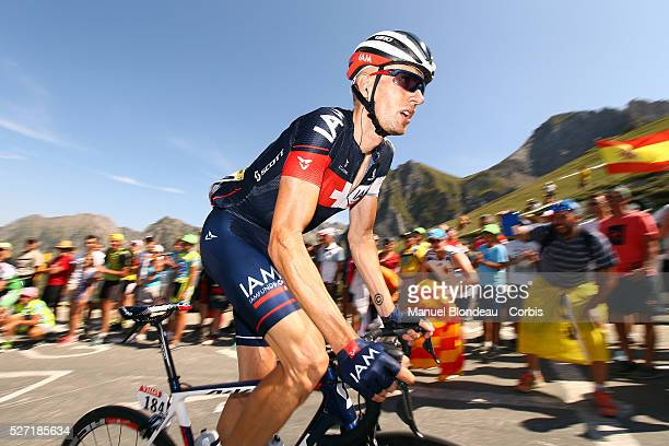 Stef Clement of Netherlands riding for IAM Cycling is pictured as he climbs the col du Tourmalet during the 2015 Tour of France, Stage 11, Pau -...