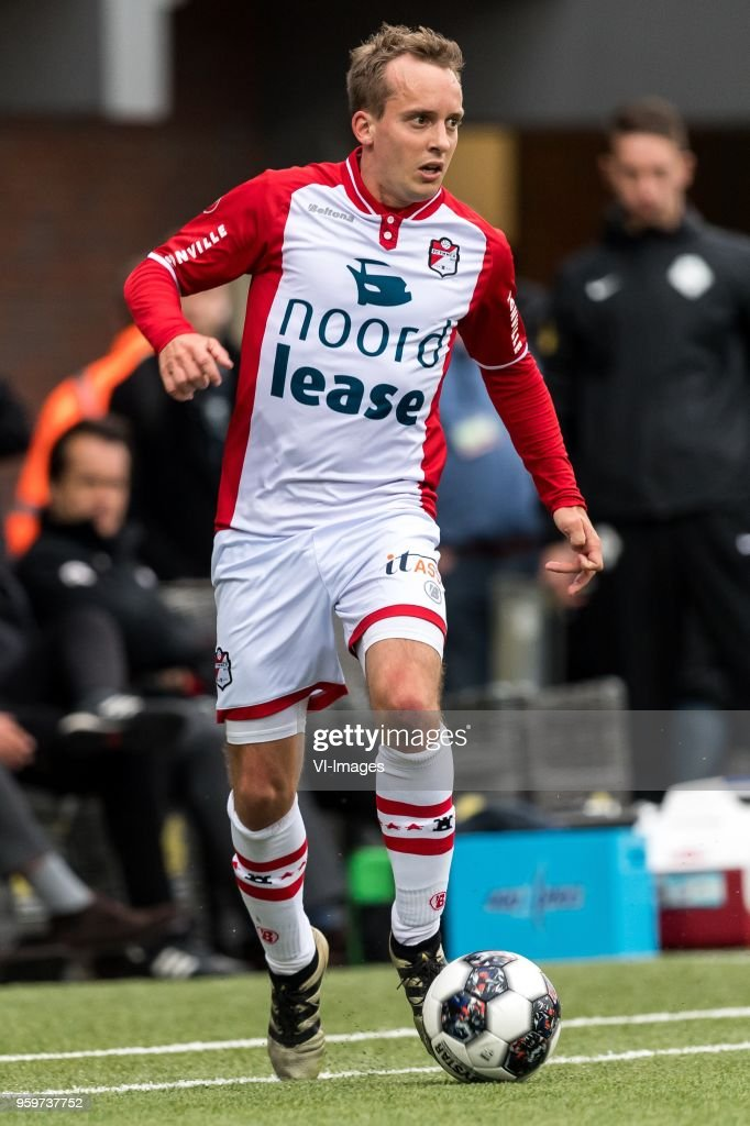 Stef Gronsveld of FC Emmen during the Dutch Jupiler League play-offs final match between FC Emmen and Sparta Rotterdam at the JenS Vesting on May 17, 2018 in Emmen, The Netherlands