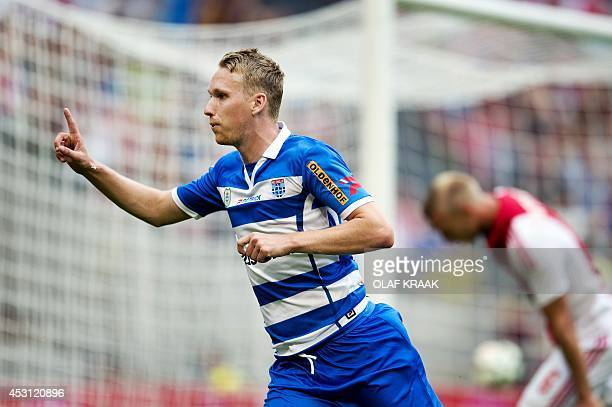 Stef Nijland of PEC Zwolle celebrates after scoring a goal during the football match between PEC Zwolle and Ajax on August 3 2014 at the Amsterdam...