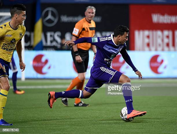 Stef Peeters midfielder of STVV and Mahmoud Ibrahim Trezeguet Hassan forward of RSC Anderlecht pictured during the Jupiler Pro league match between...