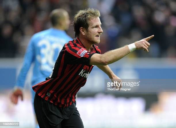 Stefan Aigner of Frankfurt celebrates after scoring his teams second goal during the Bundesliga match between Eintracht Frankfurt and FC Augsburg at...