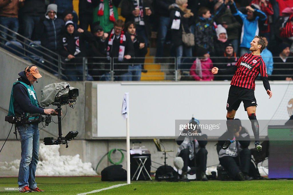 Stefan Aigner of Frankfurt celebrates his team's first goal during the Bundesliga match between Eintracht Frankfurt and VfB Stuttgart at Commerzbank-Arena on March 17, 2013 in Frankfurt am Main, Germany.