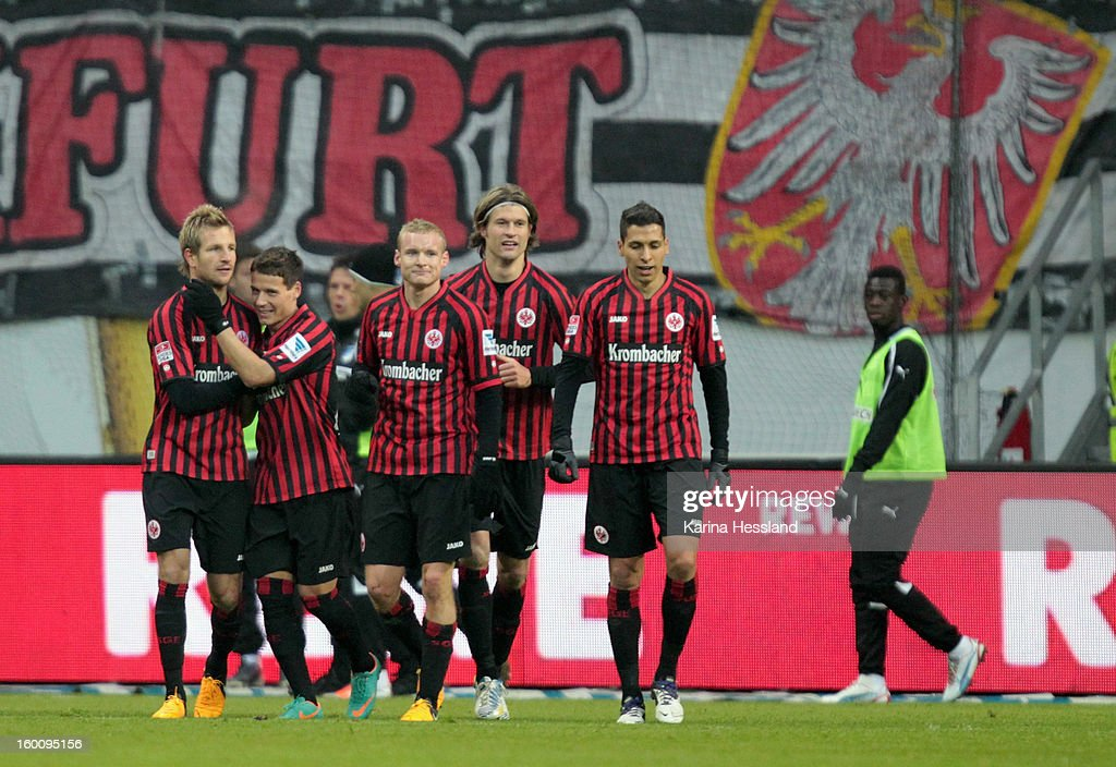 Stefan Aigner (L) of Frankfurt celebrates the second goal with his teammates during the Bundesliga match between Eintracht Frankfurt and 1899 Hoffenheim at Commerzbank-Arena on January 26, 2013 in Frankfurt am Main, Germany.