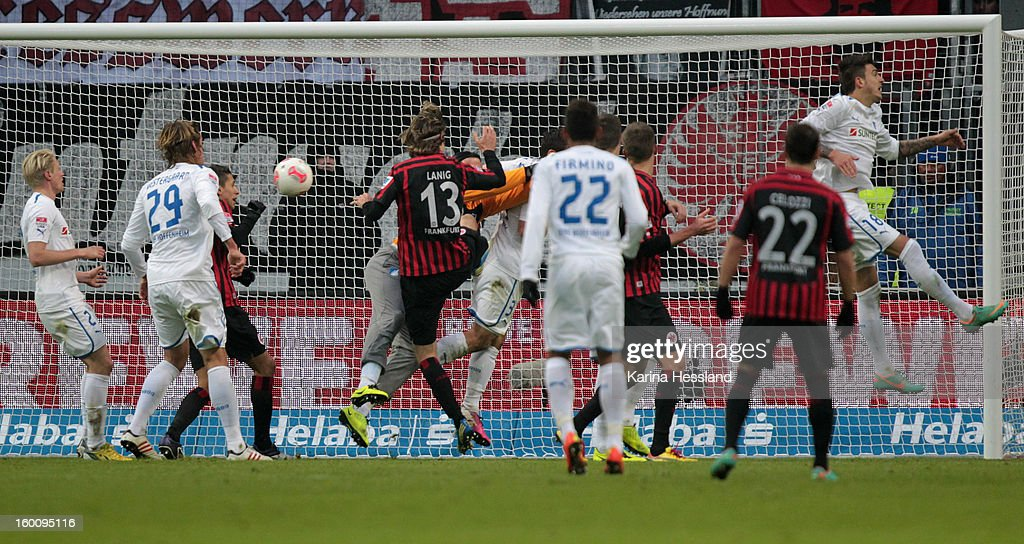 Stefan Aigner of Frankfurt scores the second goal during the Bundesliga match between Eintracht Frankfurt and 1899 Hoffenheim at Commerzbank-Arena on January 26, 2013 in Frankfurt am Main, Germany.