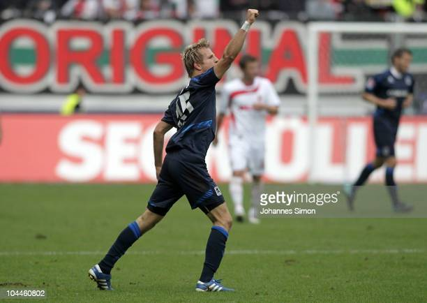 Stefan Aigner of Muenchen celebrates after scoring 10 during the Second Bundesliga match between FC Augsburg v 1860 Muenchen at Impuls Arena on...