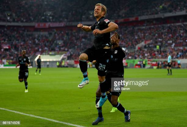 Stefan Aigner of Muenchen celebrates after scoring his teams first goal during the Second Bundesliga match between Fortuna Duesseldorf and TSV 1860...