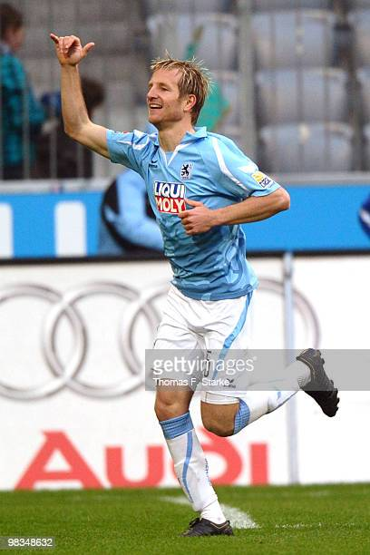 Stefan Aigner of Munich celebrates after scoring a goal during the Second Bundesliga match between TSV 1860 Muenchen and Arminia Bielefeld at the...