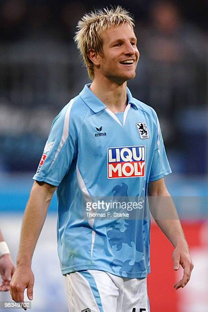 Stefan Aigner of Munich smiles during the Second Bundesliga match between TSV 1860 Muenchen and Arminia Bielefeld at the Allianz Arena on April 9...