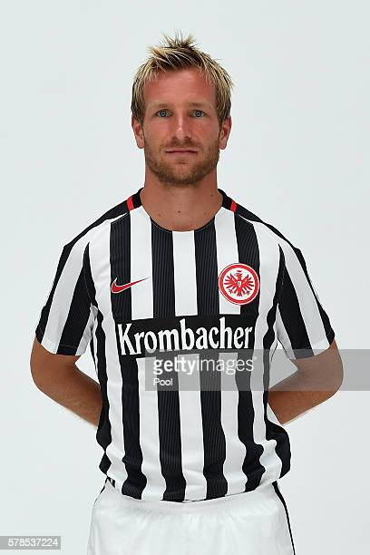 Stefan Aigner poses during the Eintracht Frankfurt Team Presentation on July 21 2016 in Frankfurt am Main Germany