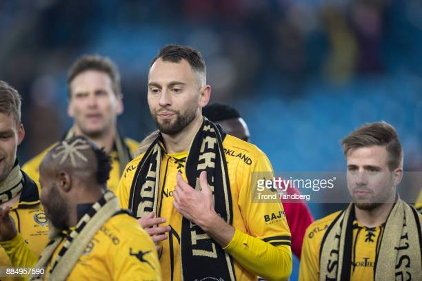 Stefan Antonijevic celebrate victory after Norway Cup Final between Sarpsborg 08 v Lillestrom at Ullevaal Stadion on December 3 2017 in Oslo Norway