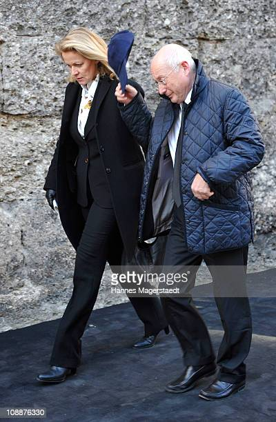 Stefan Aust and his wife Katrin Saenger attend the memorial service for Bernd Eichinger at the St Michael Kirche on February 07 2011 in Munich...
