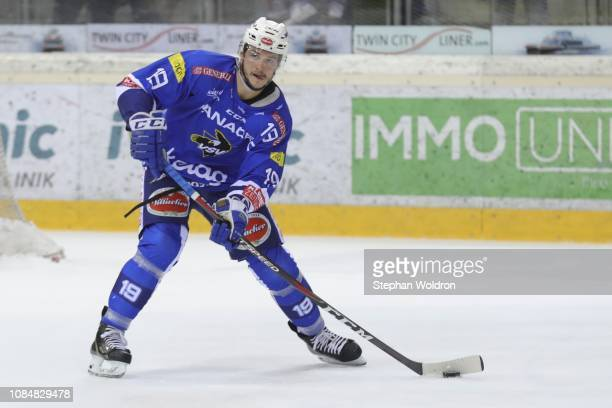 Stefan Bacher of Villach during the Vienna Capitals v EC VSV Erste Bank Eishockey Liga at Erste Bank Arena on January 18 2019 in Vienna Austria