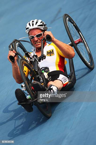 Stefan Baumann of Germany completes in the Road Cycling Men's Road Race the Triathlon Venue during day eight of the 2008 Paralympic Games on...