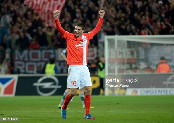 Stefan Bell of Mainz celebrates after winning the Bundesliga match between FSV Mainz 05 and Eintracht Frankfurt at Coface Arena on November 10, 2013...