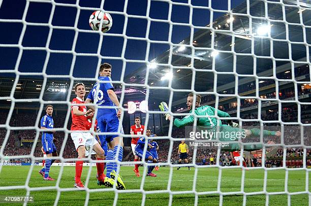 Stefan Bell of Mainz scores his team's 2nd goal during the Bundesliga match between 1 FSV Mainz 05 nd FC Schalke 04 at Coface Arena on April 24 2015...