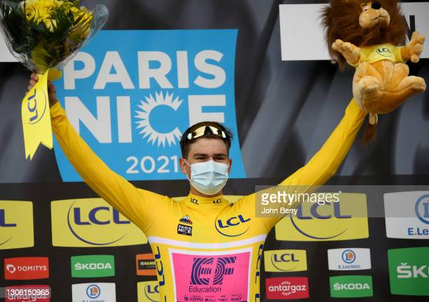 Stefan Bissegger of Switzerland and EF Education - Nippo wears the race leader's yellow jersey after winning stage 3, an individual time trial of...