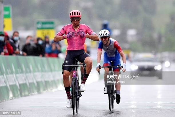 Stefan Bissegger of Switzerland and Team EF Education - Nippo celebrates at arrival ahead of Benjamin Thomas of France and Team Groupama - FDJ during...