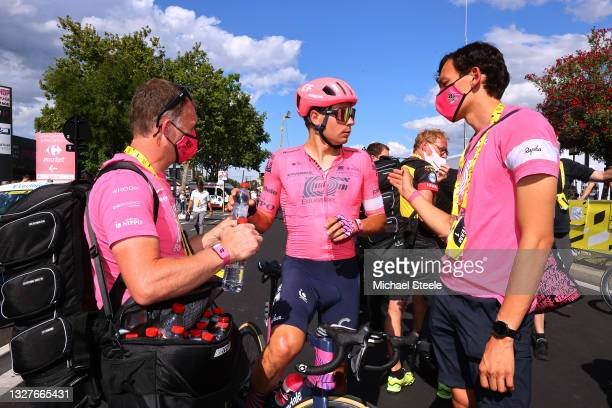 Stefan Bissegger of Switzerland and Team EF Education - Nippo at arrival during the 108th Tour de France 2021, Stage 12 a 159,4km stage from...
