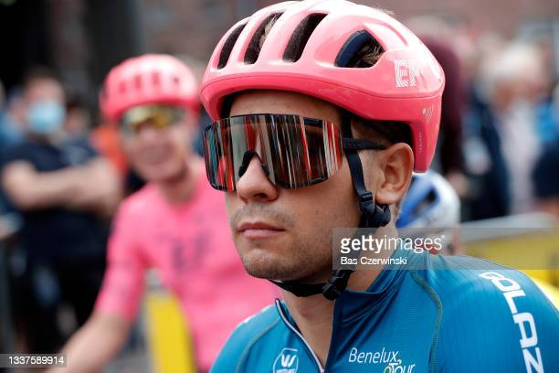 Stefan Bissegger of Switzerland and Team EF Education - Nippo Blue Leader Jersey prior to the 17th Benelux Tour 2021, Stage 3 a 168,3km stage from...