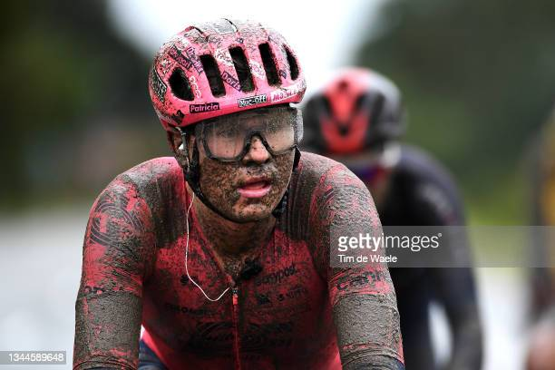 Stefan Bissegger of Switzerland and Team EF Education - Nippo competes covered in mud during the 118th Paris-Roubaix 2021 - Men's Eilte a 257,7km...