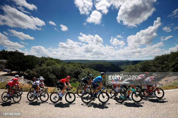 Stefan Bissegger of Switzerland and Team EF Education - Nippo, Julian Alaphilippe of France and Team Deceuninck - Quick-Step, Connor Swift of The...