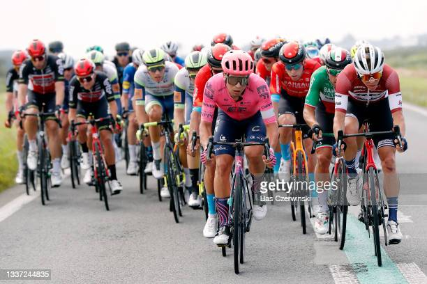 Stefan Bissegger of Switzerland and Team EF Education - Nippo, Sonny Colbrelli of Italy and Team Bahrain Victorious and Toms Skujins of Latvia and...