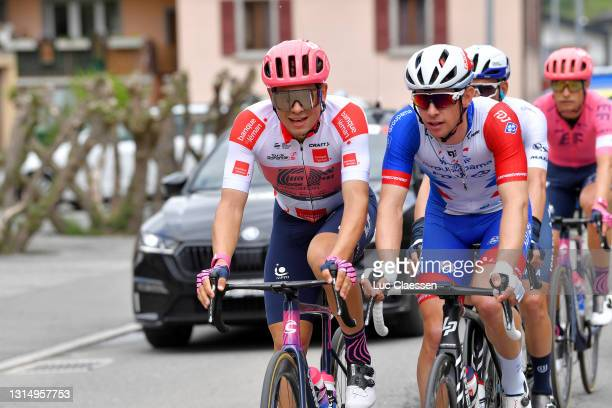 Stefan Bissegger of Switzerland and Team EF Education - Nippo White Best Young Rider Jersey & Fabian Lienhard of Switzerland and Team Groupama - FDJ...