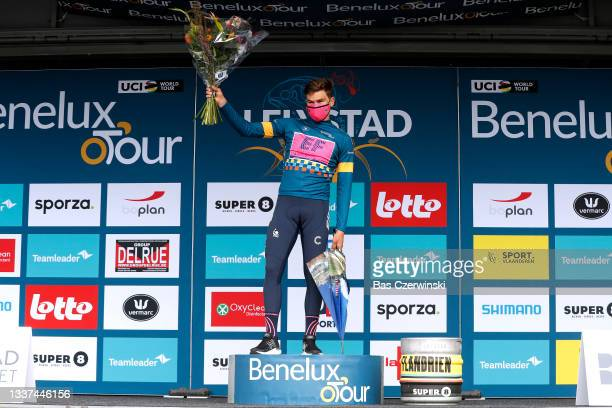Stefan Bissegger of Switzerland and Team EF Education - Nippo celebrates winning the Blue Leader Jersey on the podium ceremony after the 17th Benelux...
