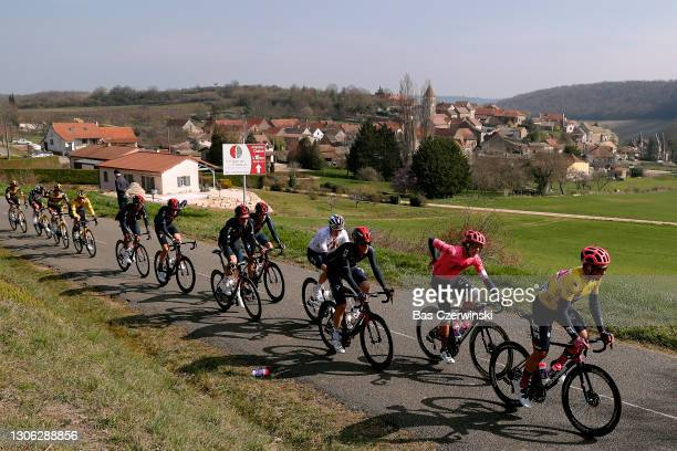 Stefan Bissegger of Switzerland and Team EF Education - Nippo Yellow Leader Jersey, Daniel Arroyave Cañas of Colombia and Team EF Education - Nippo,...