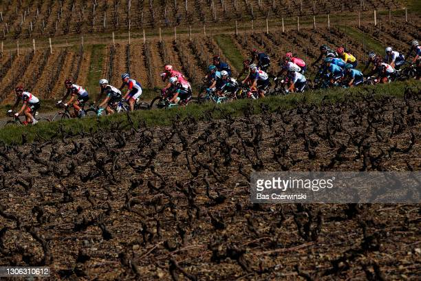 Stefan Bissegger of Switzerland and Team EF Education - Nippo Yellow Leader Jersey & the peloton during the 79th Paris - Nice 2021, Stage 4 a 187,5km...