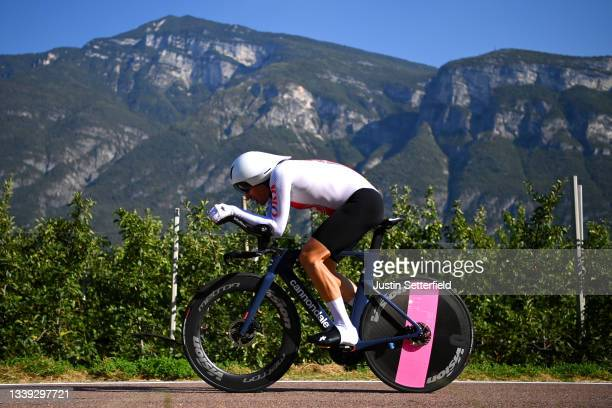 Stefan Bissegger of Switzerland sprints during the 27th UEC Road Cycling European Championships 2021 - Elite Men's Individual Time Trial a 22,4km...