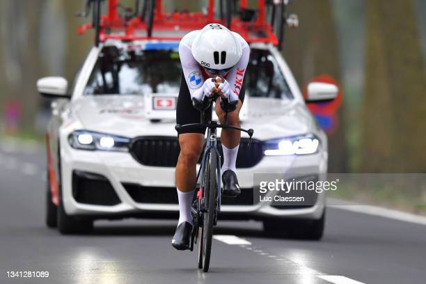 Stefan Bissegger of Switzerland sprints during the 94th UCI Road World Championships 2021 - Men Elite ITT a 43,3km Individual Time Trial race from...